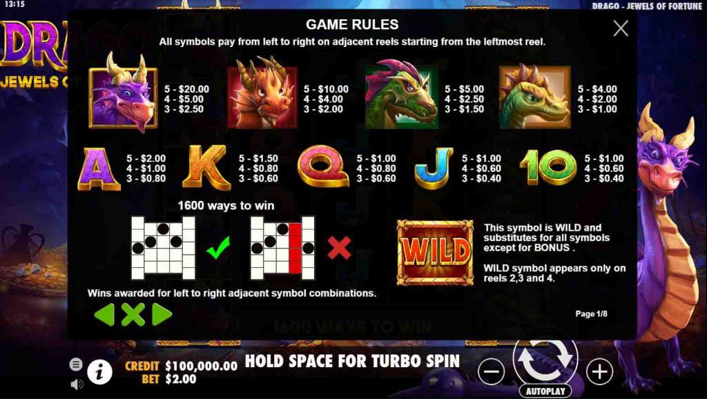 สัญลักษณ์สล็อตออนไลน์ Drago Jewels of Fortune ที่ทำออกมาได่สวยงาม และเข้ากับเกมสล็อตมากๆ