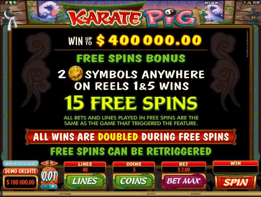 โบนัสสล็อตออนไลน์ Karate Pig จากค่ายเกม Microgaming ทุกคนมีโอกาสที่จะได้โบนัสเท่ากัน
