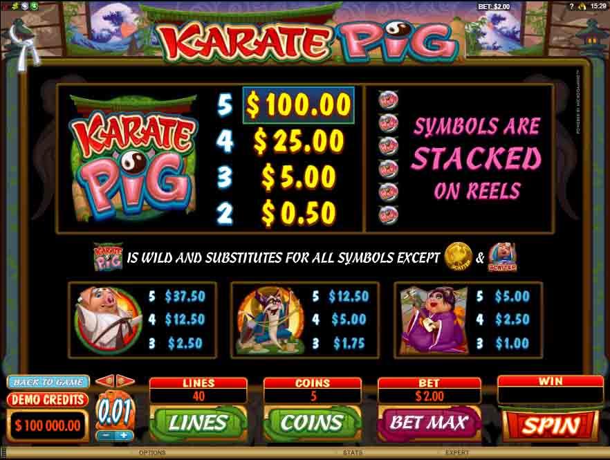 Karate Pig สล็อตออนไลน์ จากค่ายเกม microgaming ทีมงามตั้งใจทำสัญลักษณ์ให้ออกมาสวยที่สุด
