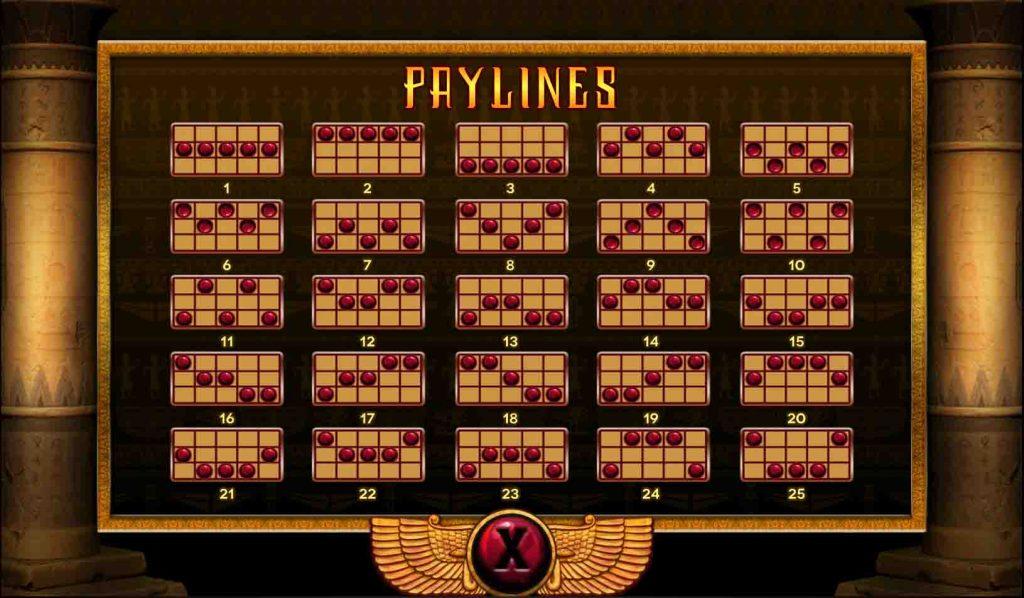Cleopatra เส้นแนวทาง ของสล็อตออนไลน์หรือเรียกอีกอย่างว่า Payline