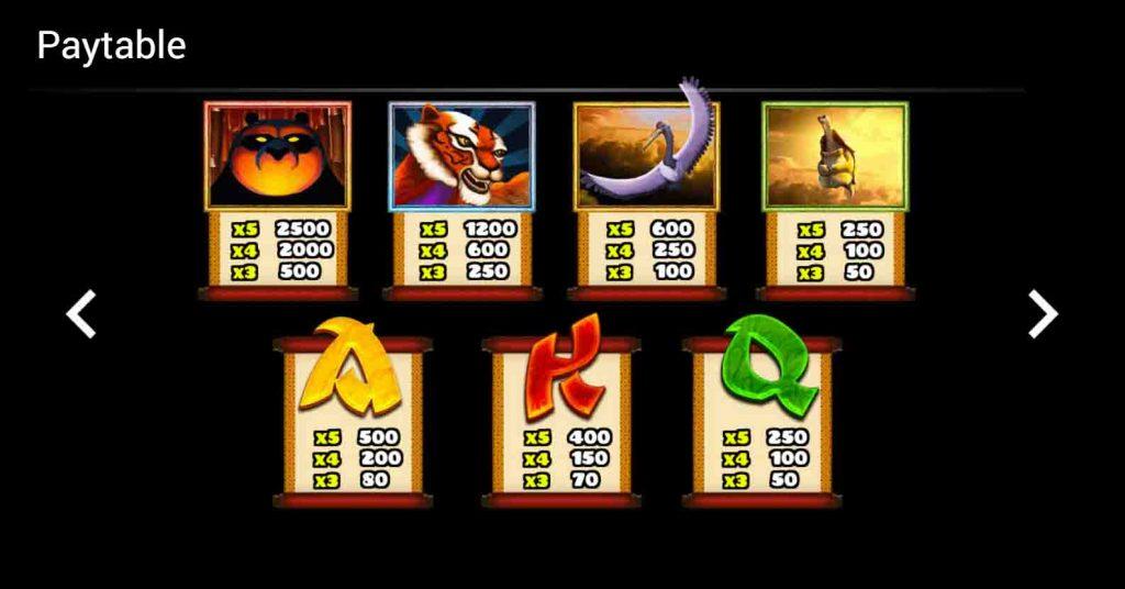 สัญลักษณ์สล็อตออนไลน์ Kung Fu Showdown ที่ทำออกมาได้สวยงาม และเข้ากับเกมสล็อตมากๆ